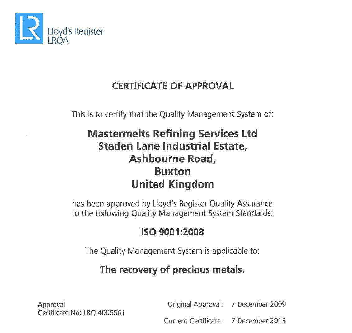 Refining – ISO 9001 Quality Management LRQ 4005561