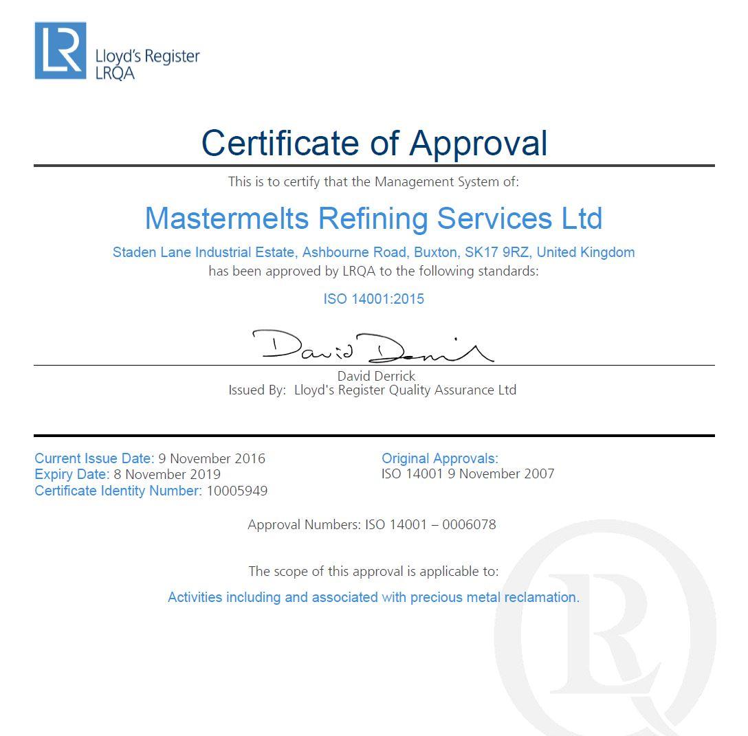 Refining – ISO 14001 Environmental LRQ 4003740