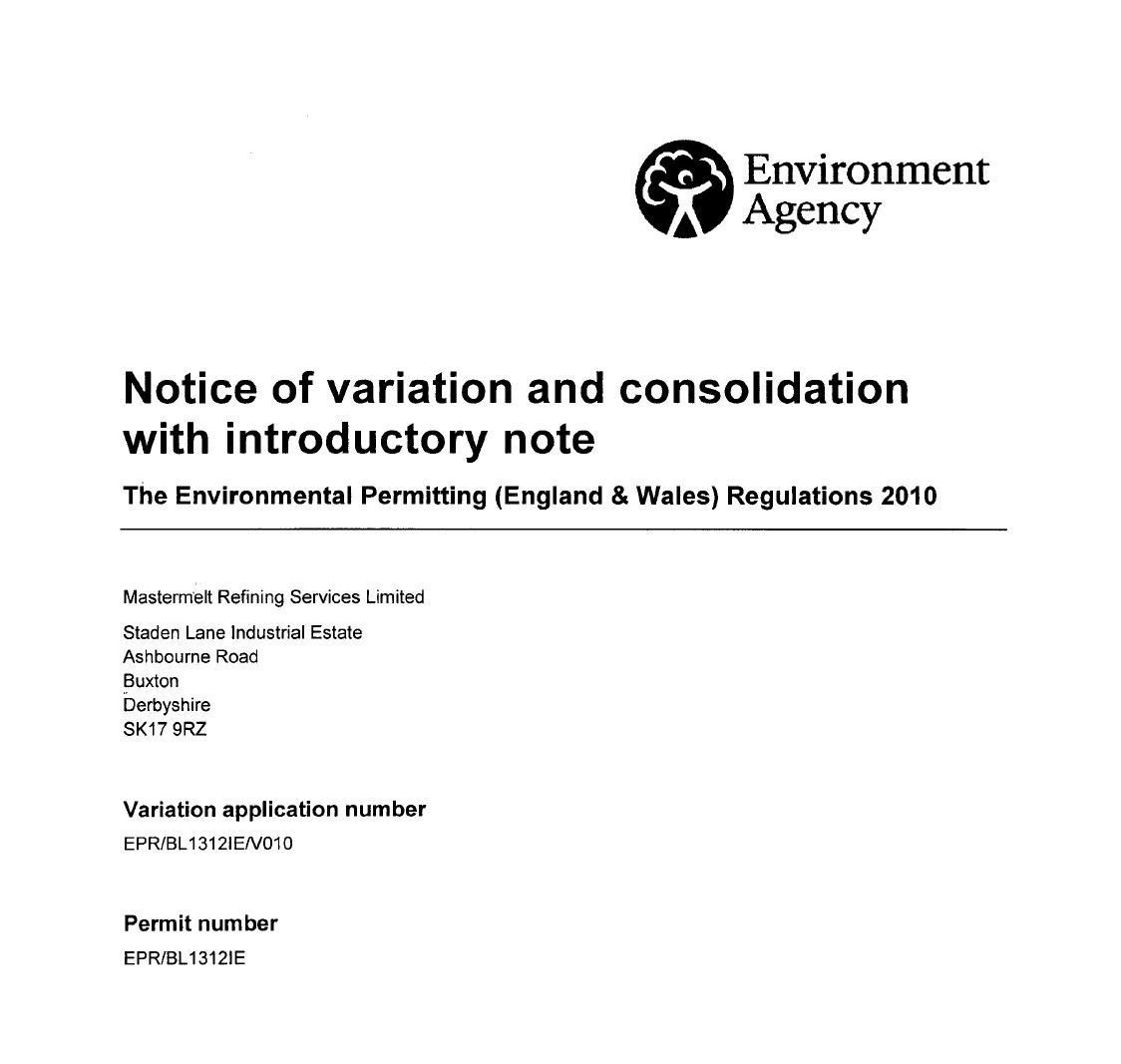 Refining – Issue of Variation Notice EPR/BL1312IE/V010