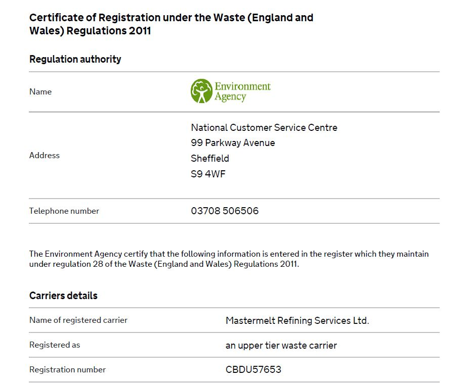 Refining – Waste Carriers License