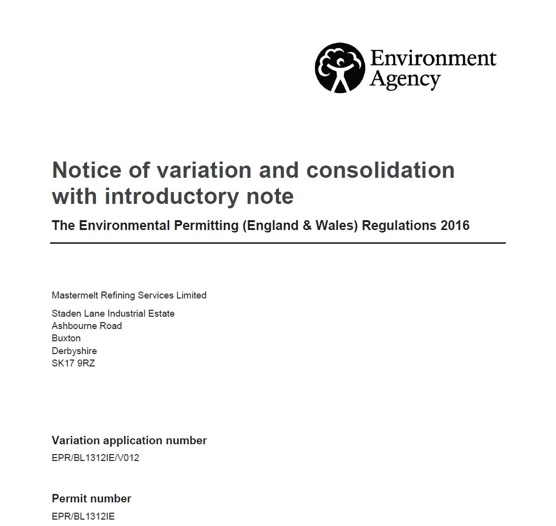 Refining – Issue of Variation Notice EPR/BL1312IE/V012