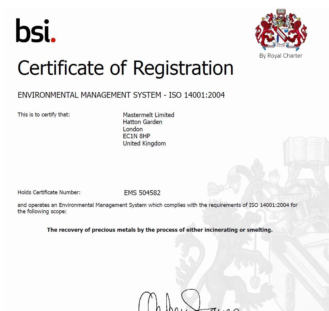 Mastermelt – ISO Environmental EMS 504582