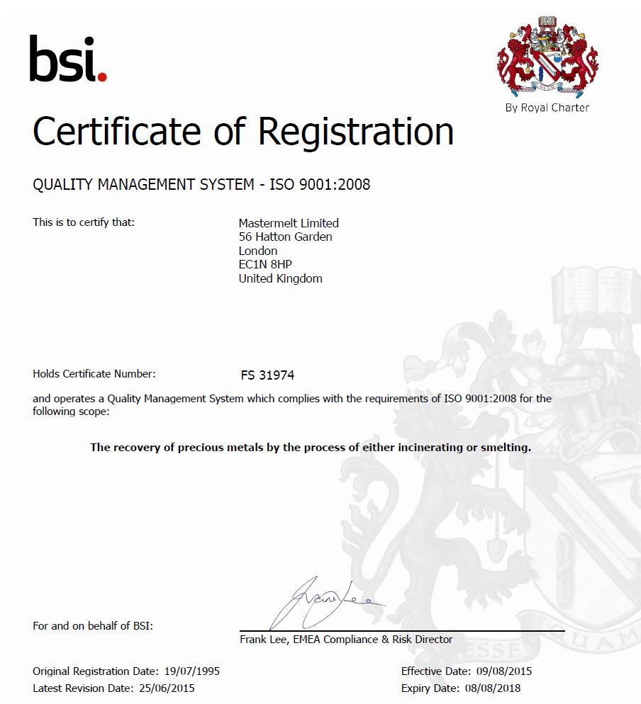 Mastermelt – ISO Quality Management FS 31974