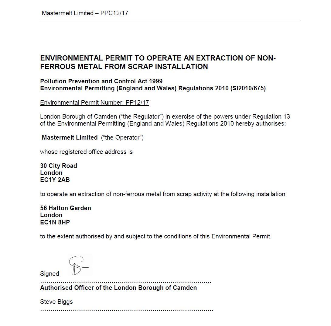 Mastermelt – LAPPC Permit to Operate