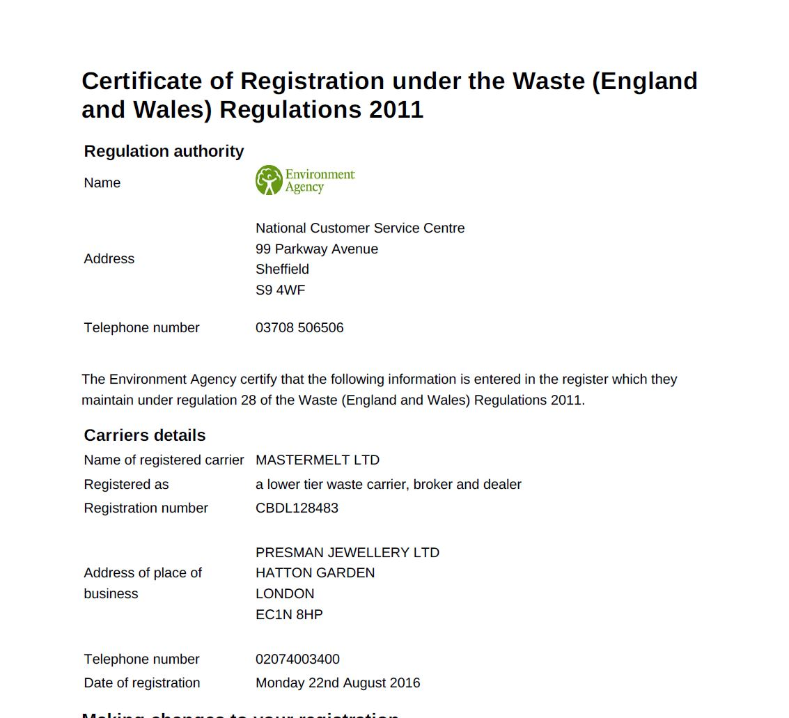 Mastermelt  – Mastermelt Ltd Waste Carriers Licence