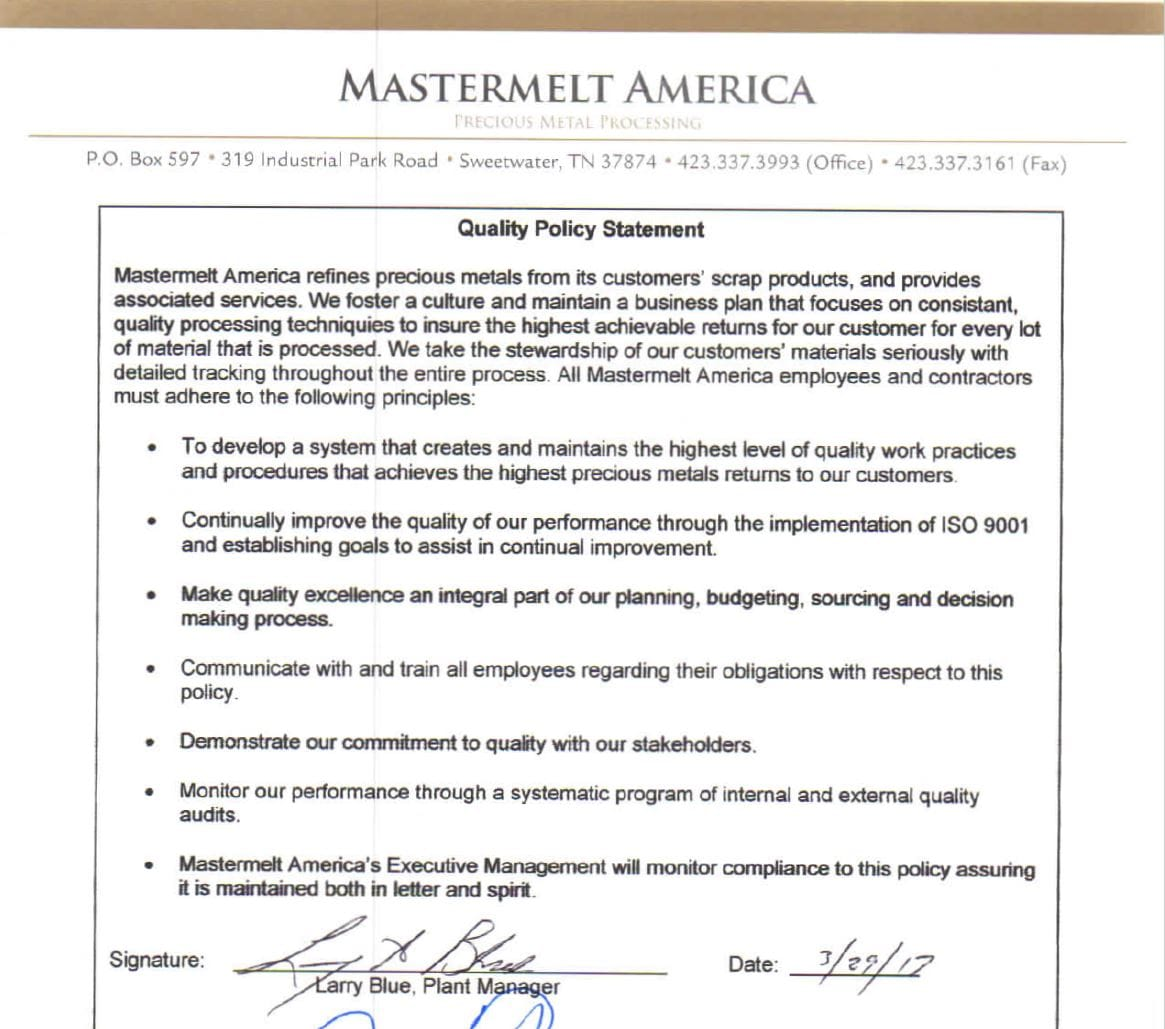 America – Quality Policy Statement