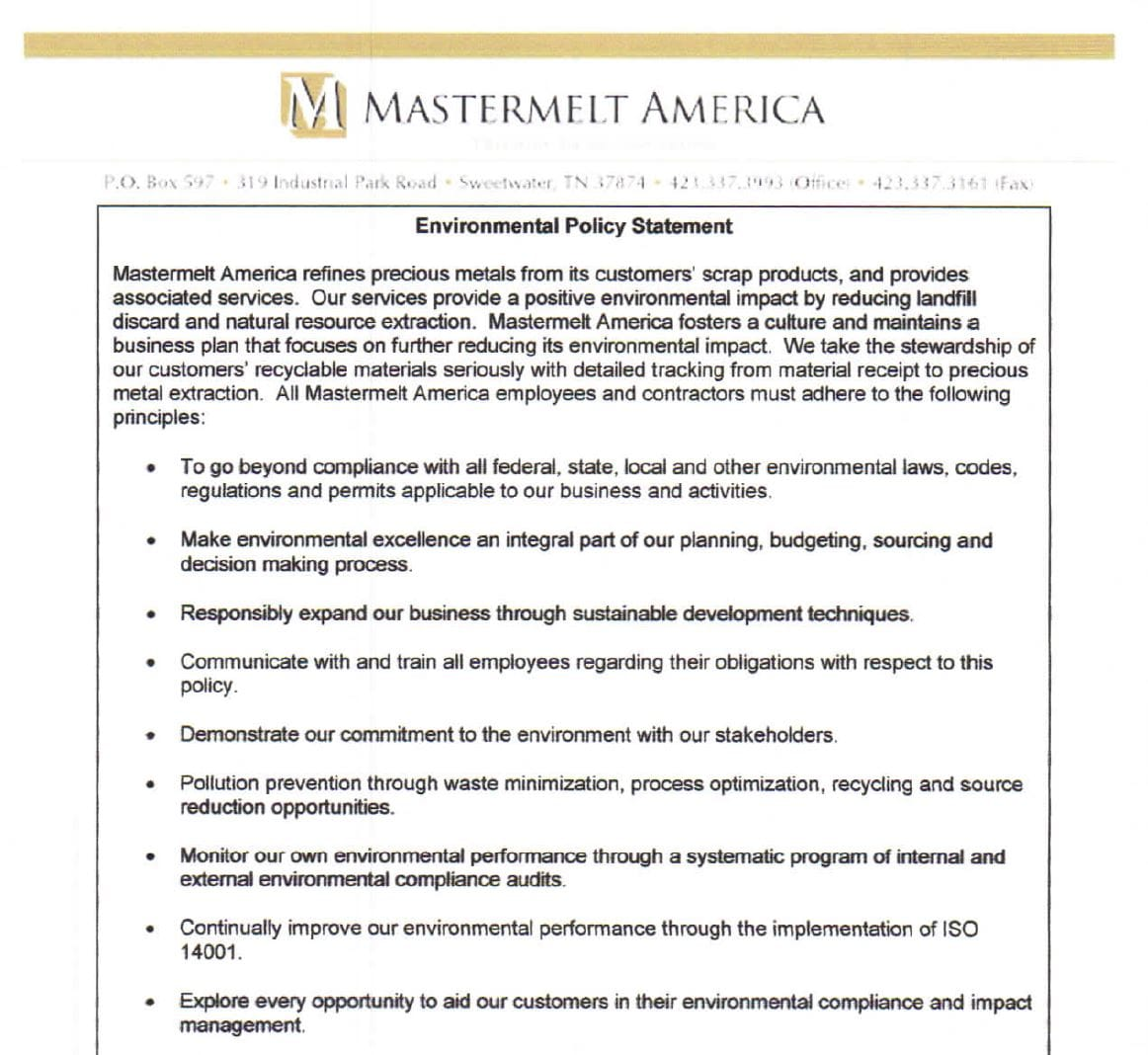 Amercia – Environmental Policy Statement