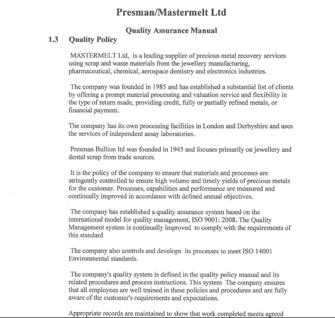 Mastermelt – QA Policy
