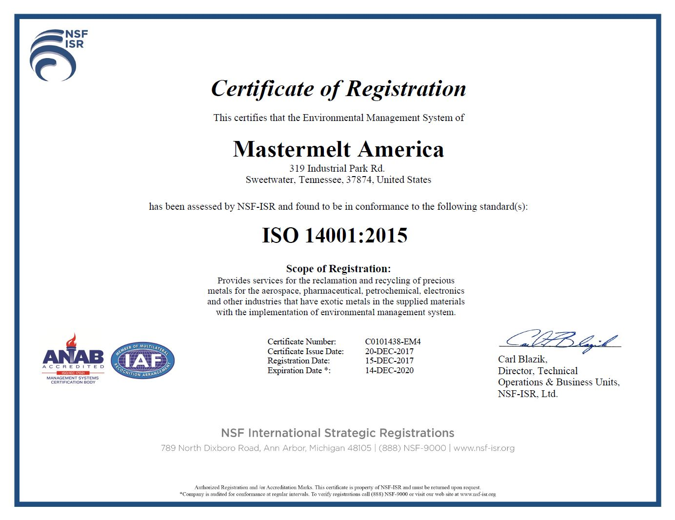 America – ISO 14001 Environmental C0101438