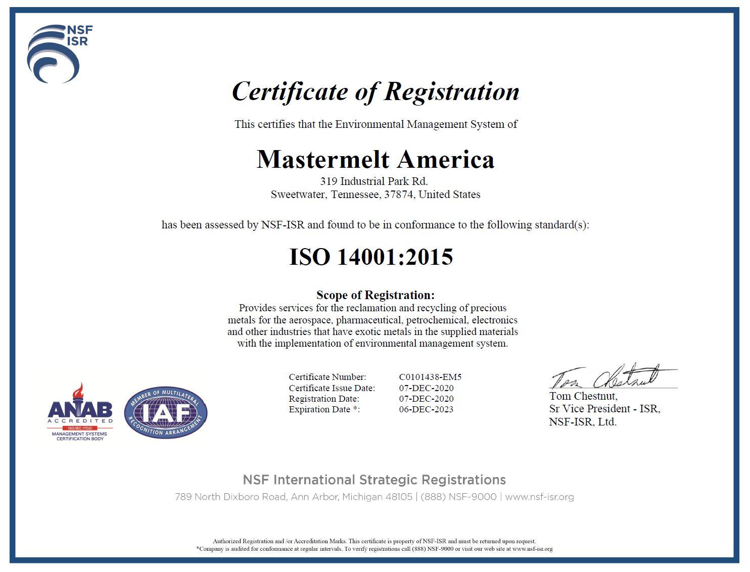 America – ISO 14001 Environmental C0101438-EM5
