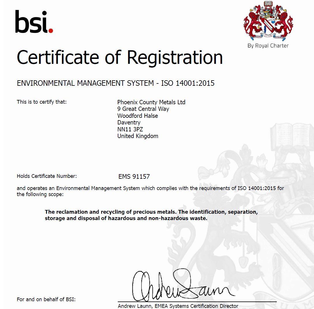 Phoenix – Phoenix County Metals ISO 14001