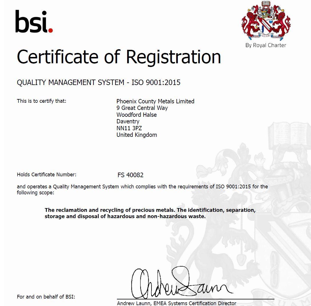 Phoenix – Phoenix County Metals ISO 9001