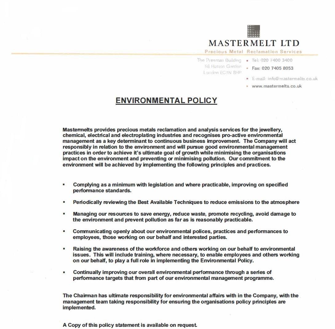 Mastermelt – Environmental Policy