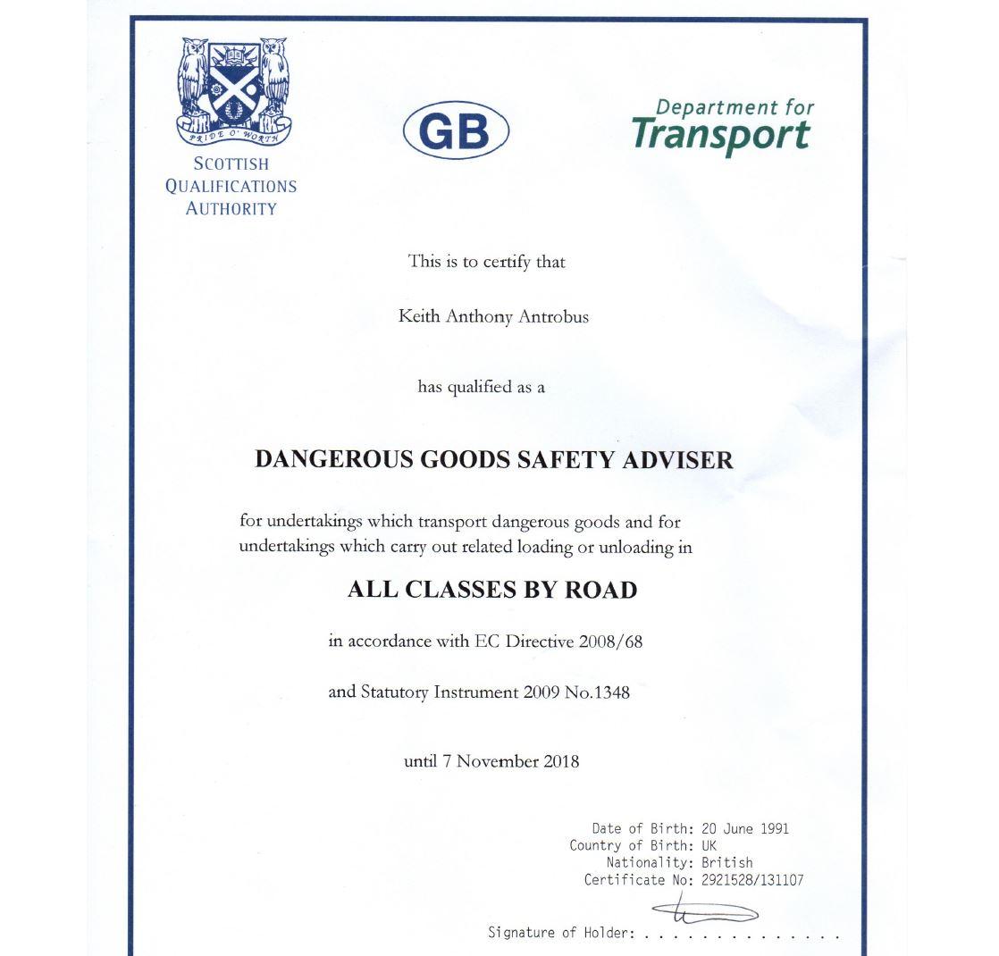 Phoenix – Keith Antrobus – Dangerous Goods Safety Advisor