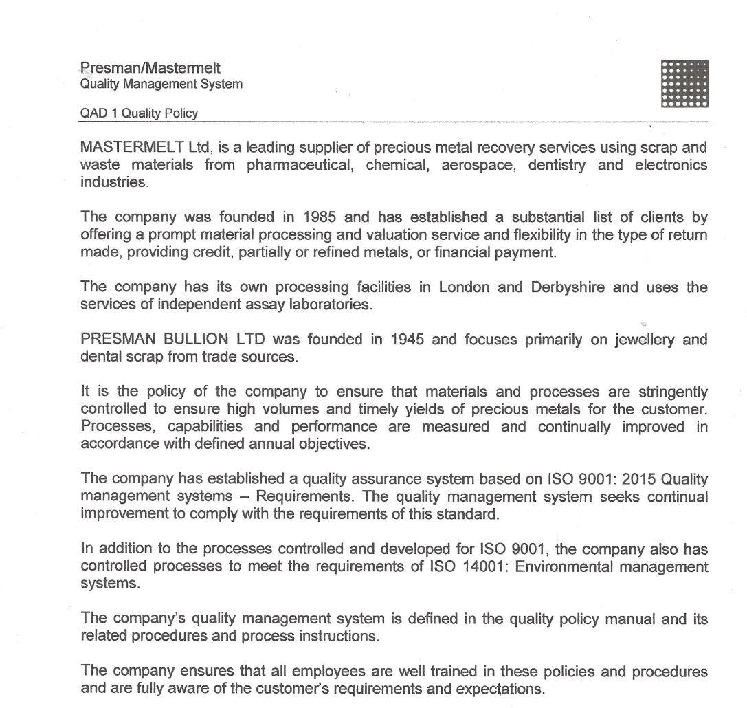 Mastermelt – Quality Policy