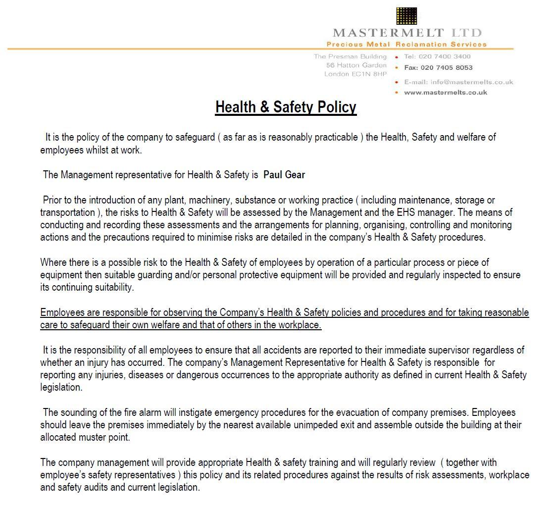 Mastermelt – H&S Policy