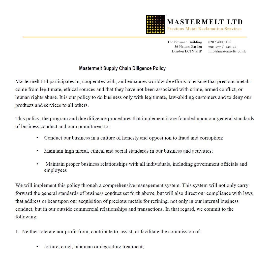 Mastermelt – Supply Chain Policy