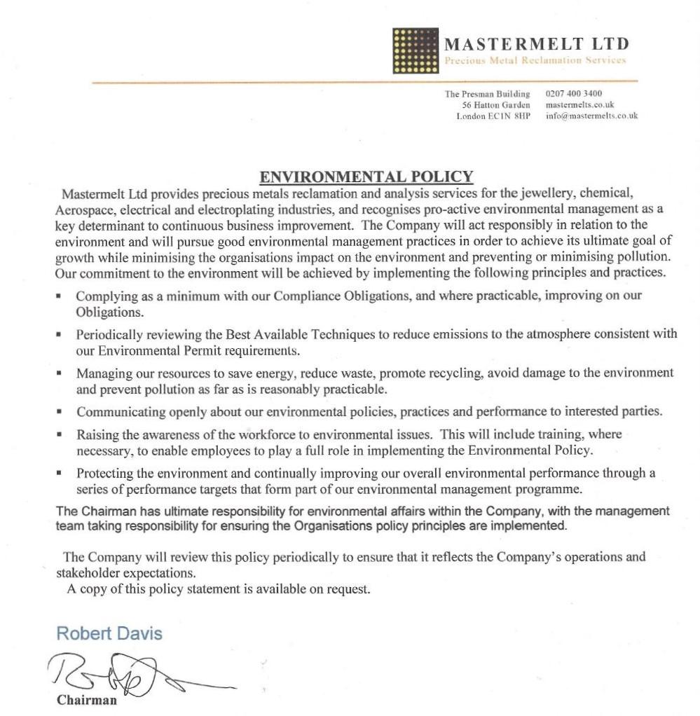 Mastermelt – Environmental Policy 2019