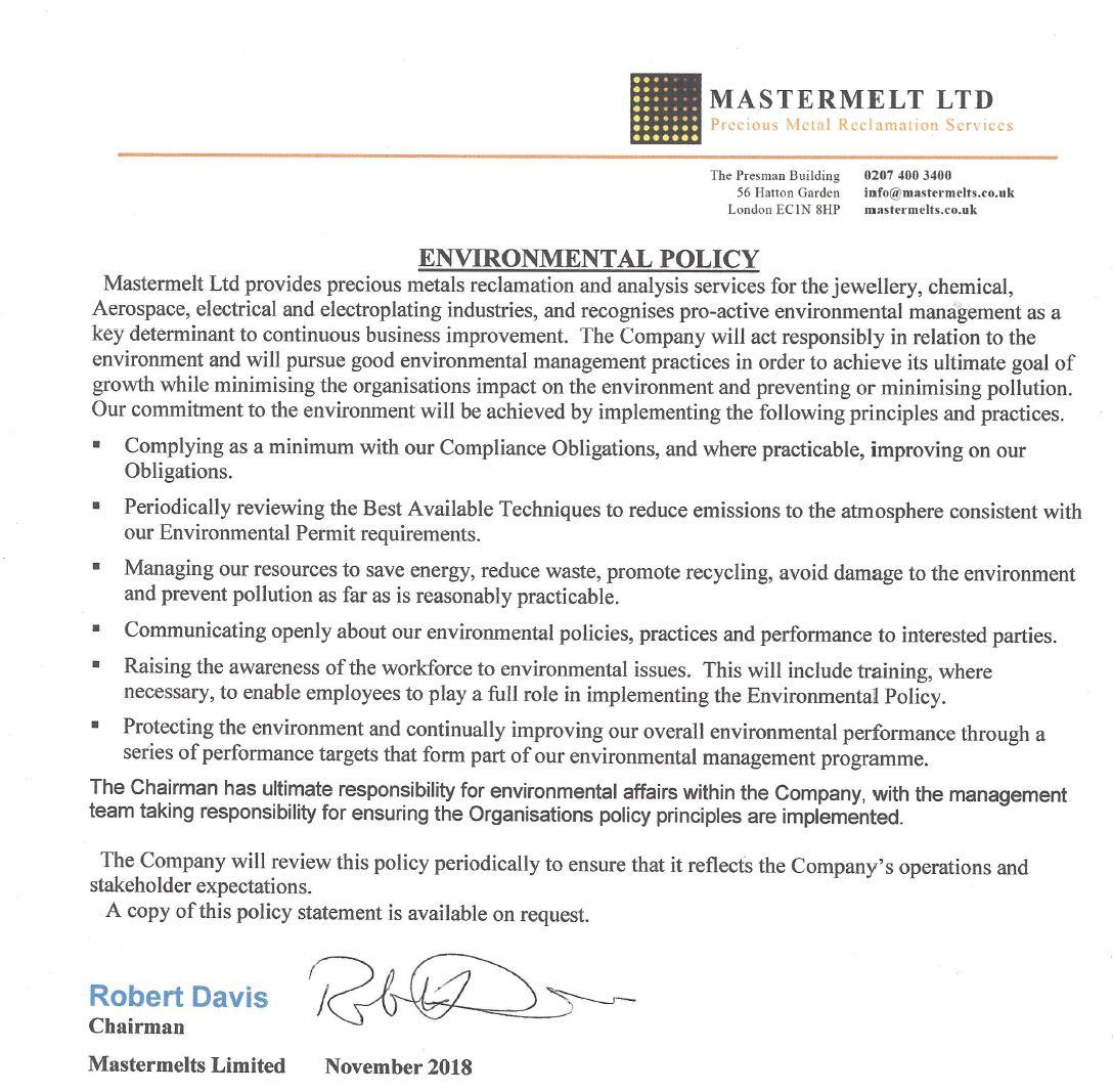 Mastermelt – Environment Policy 2018