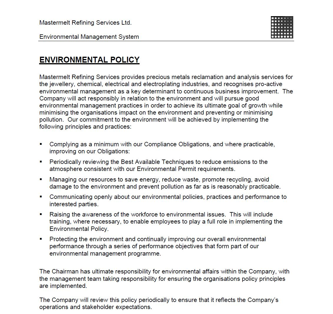 Refining – Environmental Policy