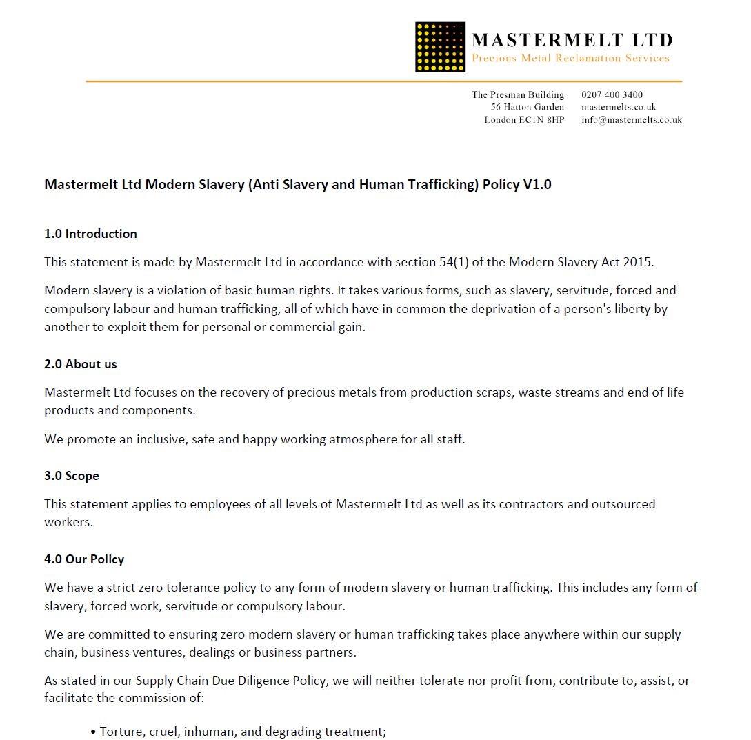 Mastermelt – Modern Slavery Policy